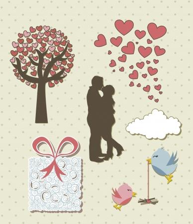 cute love elements, vintage style. Banco de Imagens - 15787475