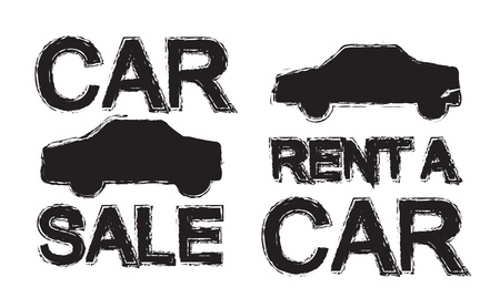 promotion silhouettes car renta and car sale over white background Vector