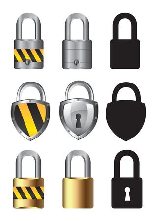 guard duty: collections of locks over white background vector illustration Illustration
