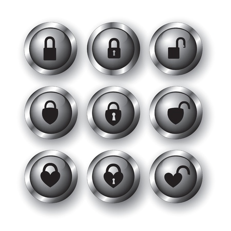 collections of locks as buttons over white background Stock Vector - 15888559