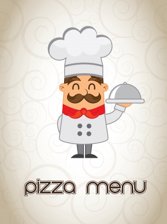 chef italiano: cocinero con el menú en la ilustración mano vector menú de pizza