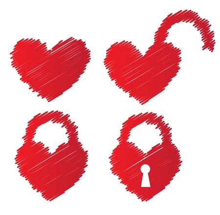 heart shaped padlocks over white background vector illustratin Stock Vector - 15888756