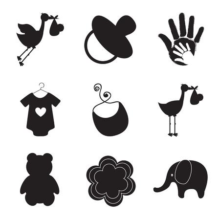 siluetas de los artículos del bebé más de fondo blanco ilustración vectorial