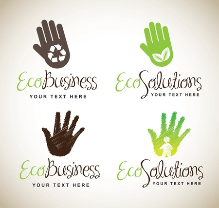 reforestaci�n: Manos ecol�gicos para negocios y soluciones sobre fondo blanco Vectores