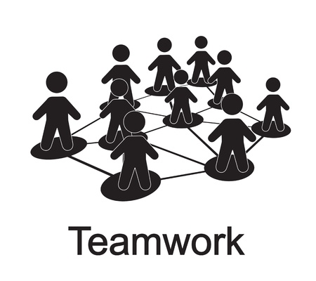 men forming a teamwork over white background Vector