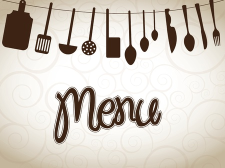eating utensil: cookware over vintage background vector illustration
