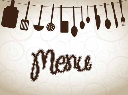 utensilios de cocina: utensilios de cocina sobre ilustraci�n de la vendimia del vector del fondo
