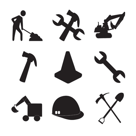 hard hat icon: Construction tools silhouettes and a man working