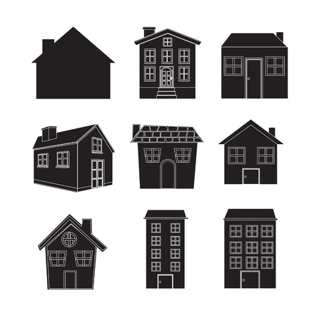 silhouettes of different houses over white background Stock Vector - 15888759