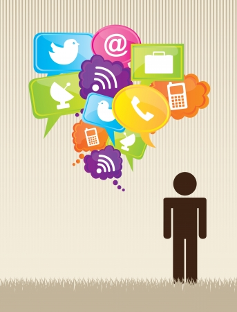 social work: Man with communications icons over vintage background