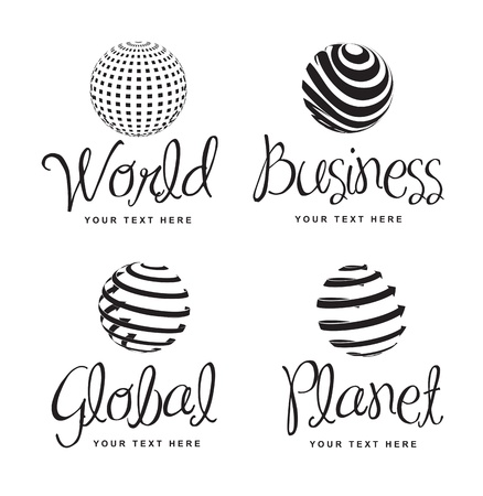 Icons of business, world, global and planet over white background Stock Vector - 15888689