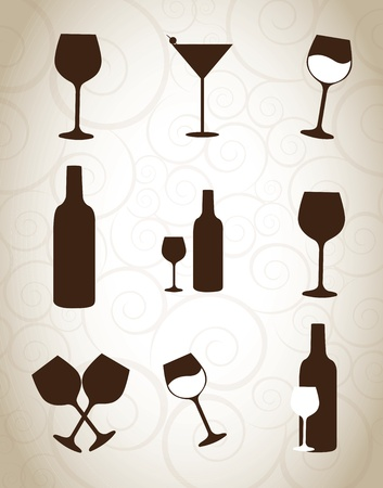wine glasses and bottle over vintage background Stock Vector - 15888770