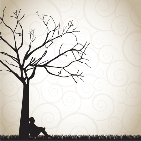 solitary tree: silhouette of a pensive man under a tree vector illustration Illustration