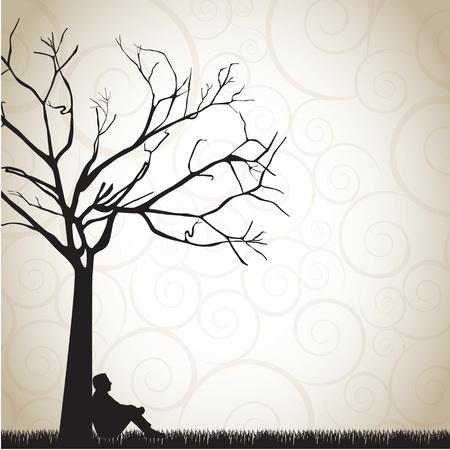 hombre pensando: silueta de un hombre pensativo bajo un �rbol ilustraci�n vectorial
