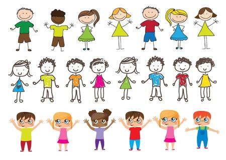 desenhos de muitas crianças felizes com as mãos para cima Ilustración de vector