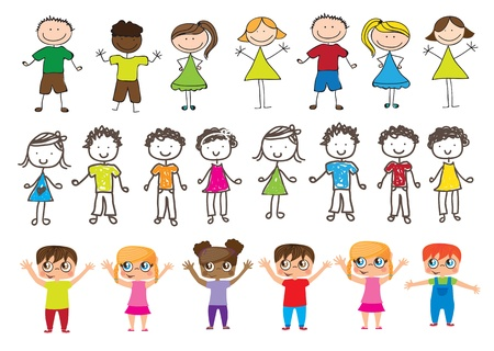 kids holding hands: drawings of many happy children with hands up