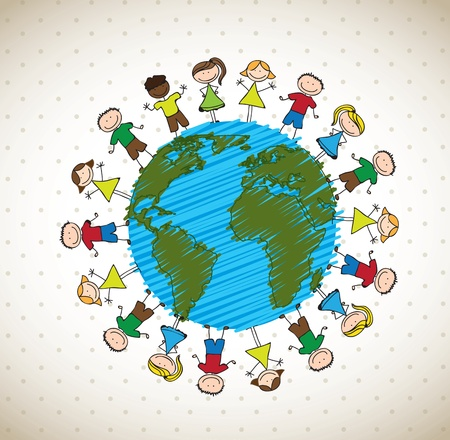holding hand: many happy children around the world vector illustration Illustration