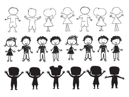 hand schilderen: silhouetten van kinderen op een witte achtergrond vector illustratie Stock Illustratie