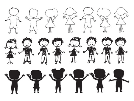 kids holding hands: silhouettes of children over white background vector illustration