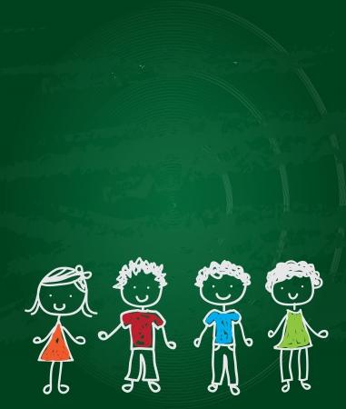 chalk writing: happy children drawn on a green board vector illustration  Illustration