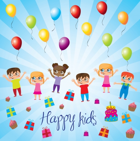 Happy kids with balloons,gift and cake over blue background  Vector
