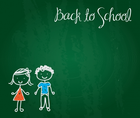 a pair of children drawn on a board as a signal back to school  Stock Vector - 15888665