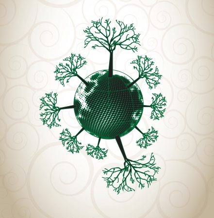 silhouette trees around the world over vintage background  Vector