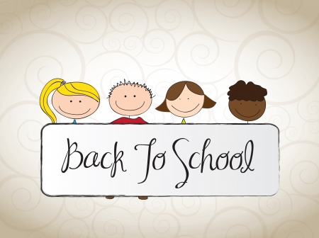 happy children with a banner of back to school vector illustration Stock Vector - 15888720