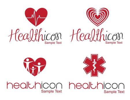 ampule: different Health icon over white background  Illustration