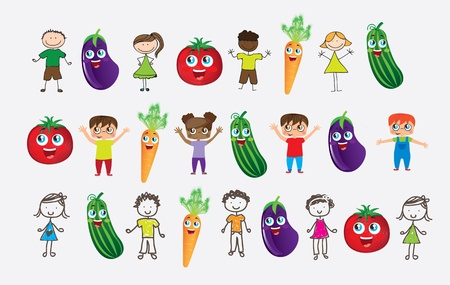 animated boy: many children with vegetables in signal of  good nutrition Illustration