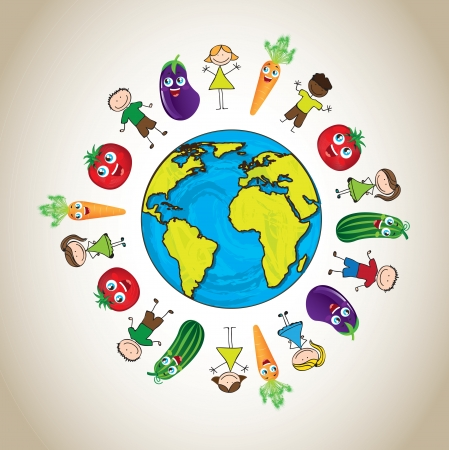 world group: many children with vegetables in signal of  good nutrition around of world