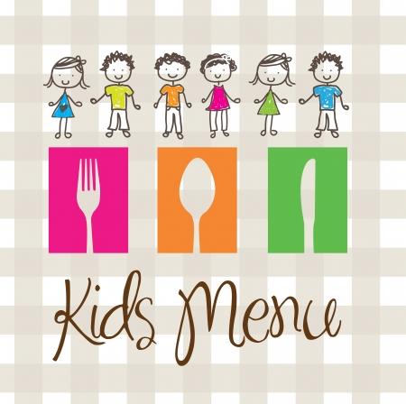 baby cutlery: bandera de men� para ni�os con cubiertos y los ni�os Vectores