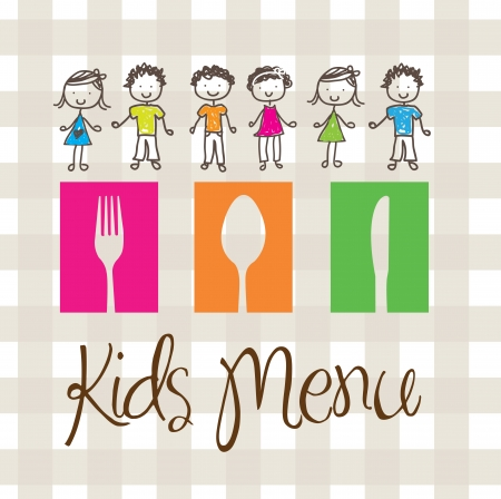 school lunch: banner of Kids menu with cutlery and children