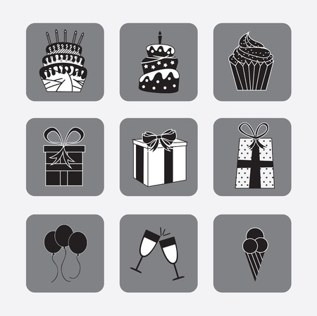 GIft, balloons, ice cream, cup cake icons over gray background Stock Vector - 15888688