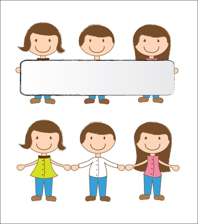 happy children with a blank box vector illustration Stock Vector - 15888655