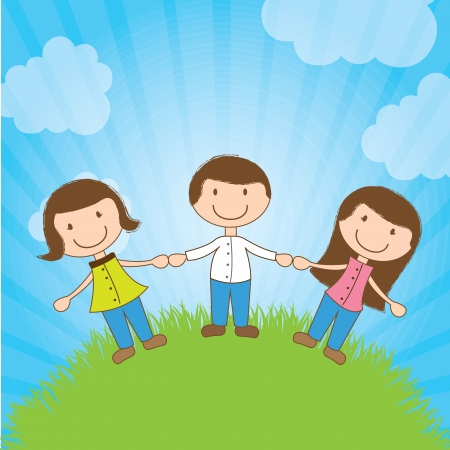 beautiful children holding hands on a mountain Vector