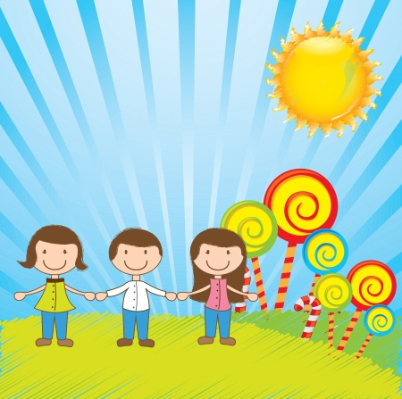 beautiful children holding hands in the garden with candies Vector