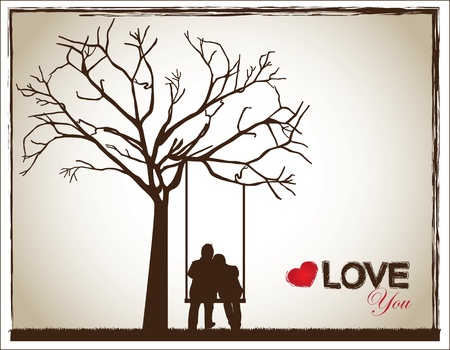 a couple on a swing under a tree as a sign of love Vector