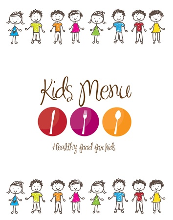kids food: banner of Kids menu with cutlery and children  over white background
