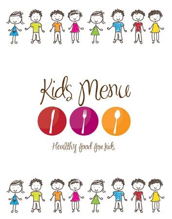 banni�re du menu pour enfants avec des couverts et des enfants sur fond blanc