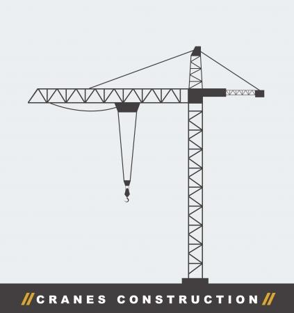 bouwkraan: silhouettte bouwkraan toren achtergrond. vector illustratie Stock Illustratie