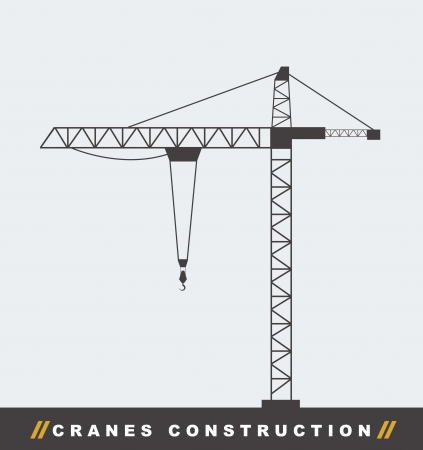 building site: silhouettte construction crane tower background. vector illustration