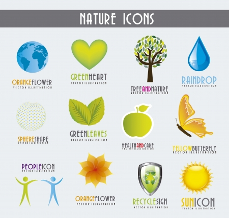 colorful nature icons over gray background. vector illustration Vector