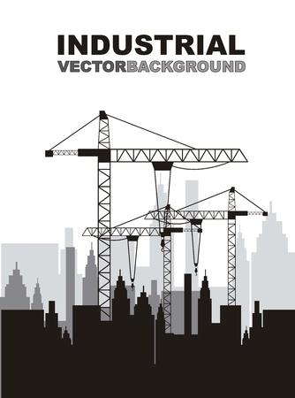 bouwkraan: silhouettte bouwkraan met gebouwen. vector illustratie Stock Illustratie
