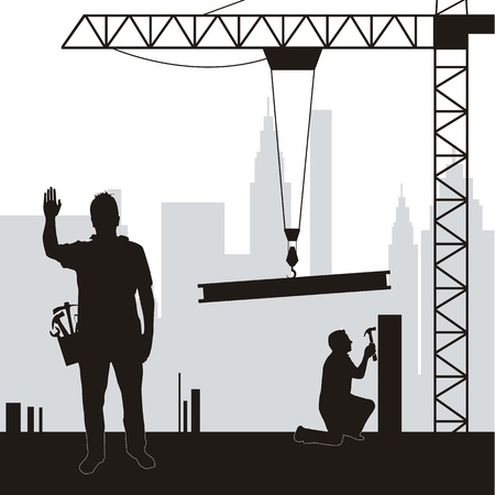 steel structure: silhouette men working in construction. vector illustration Illustration