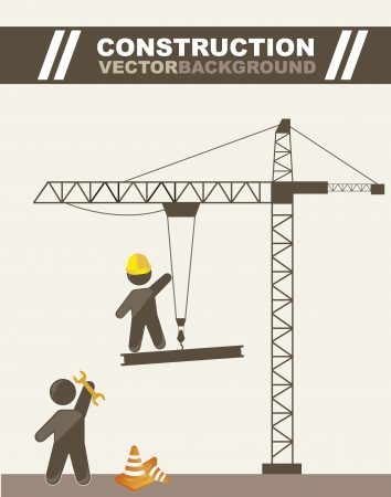 construction crane: men working in construction, cartoons. vector illustration