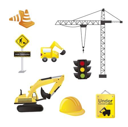 Iconos de la construcción aislada sobre fondo blanco