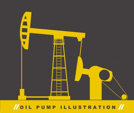 oil exploration: silhouette oil pump over gray background. vector illustration
