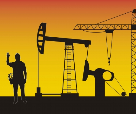 oilfield: silhouette man with  oil pump. vector illustration
