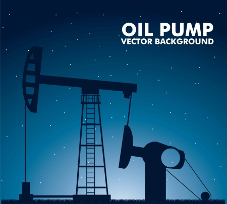 depletion: silhouette oil pump over night background. vector illustration